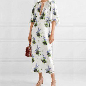 NWT Les Rêveries White Daffodil Silk Midi Dress